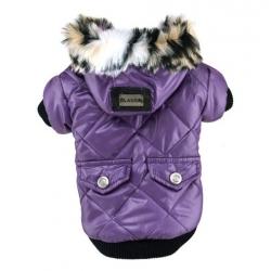 Zimní bunda pro psa s kapsami fialová - vel. S