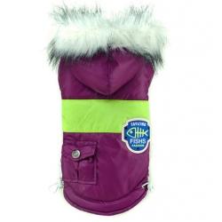 Zimní bunda pro psa s kapucí vel. S - fialová