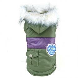Zimní bunda pro psa s kapucí vel. S - zelená