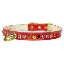 Luxusní červený obojek pro psa s barevnými kamínky