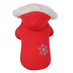 Oboustranná zimní bunda pro psa vel M - červená