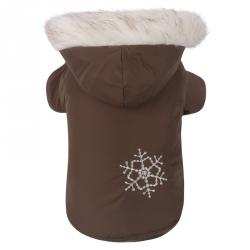 Luxusní oboustranná zimní bunda pro psa vel S - hnědá