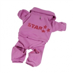 Luxusní růžový overal pro psa Star I Love Pets