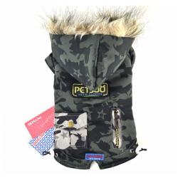 Maskáčová zimní bunda pro psa Army vel. M - zeleno/šedá