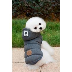 Luxusní zimní bunda pro psa s kožíškem - šedá vel. S