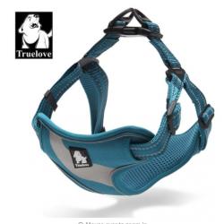 Sportovní postroj pro psa True Love neonový modrý