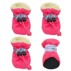 Zimní boty pro psa s kožíškem růžové vel. 4cm