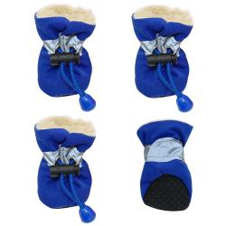 Zimní boty pro psa s kožíškem modré vel. 4cm