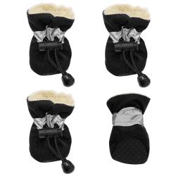 Zimní boty pro psa s kožíškem černé vel. 4cm