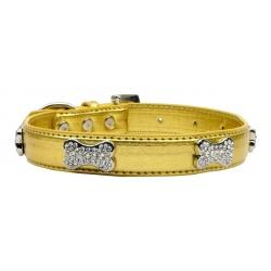 Metalický obojek pro psa s kostičkami - zlatý