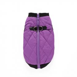 Zimní bunda pro psa se zapínáním na zádech fialová