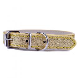 Zlatý třpytivý obojek pro psa vel. XS/S - šířka 1,3cm