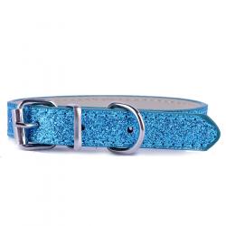 Modrý třpytivý obojek pro psa vel. XS/S - šířka 1,3 cm