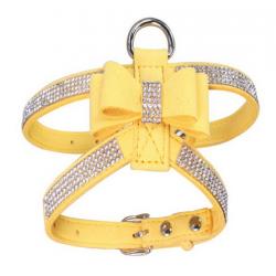 Luxusní postroj pro psa s kamínky - žlutý vel. XS