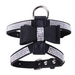 Luxusní postroj pro psa s kamínky - černý vel. S