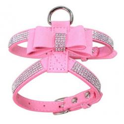 Luxusní postroj pro psa s kamínky - růžový vel. S