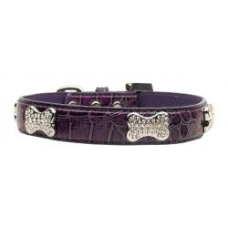 Obojek pro psa s kostičkami - fialový