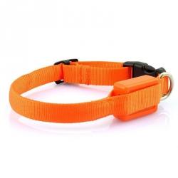 Svítící obojek pro malého psa - oranžový