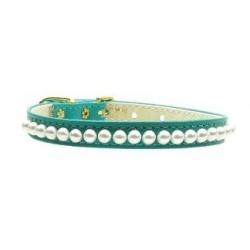 Luxusní obojek pro psa s perlami - zelený