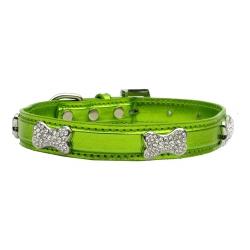 Metalický obojek pro psa s kostičkami - zelený
