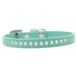 Zelený obojek pro malého psa s řadou perel