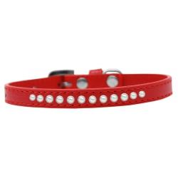 Červený obojek pro malého psa s řadou perel
